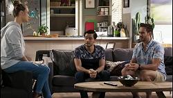 Chloe Brennan, David Tanaka, Aaron Brennan in Neighbours Episode 8496