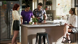 Nicolette Stone, David Tanaka, Aaron Brennan, Chloe Brennan in Neighbours Episode 8500