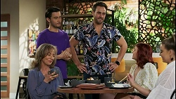 Jane Harris, David Tanaka, Aaron Brennan, Nicolette Stone, Chloe Brennan in Neighbours Episode 8500