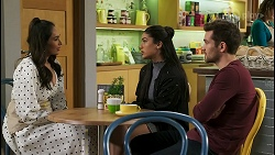 Dipi Rebecchi, Yashvi Rebecchi, Ned Willis in Neighbours Episode 8500