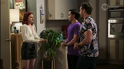 Nicolette Stone, David Tanaka, Aaron Brennan in Neighbours Episode 8502