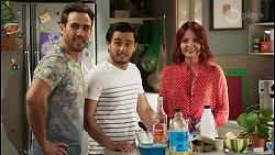 Aaron Brennan, David Tanaka, Nicolette Stone in Neighbours Episode 8511