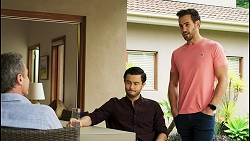 Paul Robinson, David Tanaka, Aaron Brennan in Neighbours Episode 8515