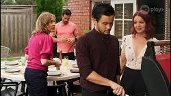 Jane Harris, Aaron Brennan, David Tanaka, Nicolette Stone in Neighbours Episode 8515