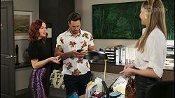 Nicolette Stone, Aaron Brennan, Chloe Brennan in Neighbours Episode 8516