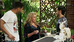 Levi Canning, Sheila Canning, David Tanaka in Neighbours Episode 8525