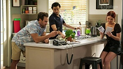 Aaron Brennan, David Tanaka, Nicolette Stone in Neighbours Episode 8527