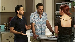 David Tanaka, Aaron Brennan, Nicolette Stone in Neighbours Episode 8527