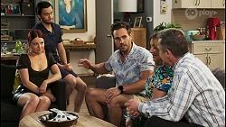 Nicolette Stone, David Tanaka, Aaron Brennan, Terese Willis, Paul Robinson in Neighbours Episode 8527