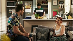 Aaron Brennan, David Tanaka, Nicolette Stone in Neighbours Episode 8529
