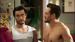 Amy Greenwood, David Tanaka, Aaron Brennan in Neighbours Episode 8530