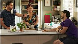 Aaron Brennan, Nicolette Stone, David Tanaka in Neighbours Episode 8530