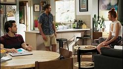 David Tanaka, Aaron Brennan, Nicolette Stone in Neighbours Episode 8535