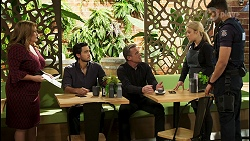 Terese Willis, David Tanaka, Paul Robinson, Roxy Willis, Levi Canning in Neighbours Episode 8536