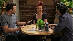 Aaron Brennan, Nicolette Stone, David Tanaka in Neighbours Episode 8536