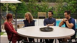 Nicolette Stone, Jane Harris, David Tanaka, Aaron Brennan in Neighbours Episode 8542