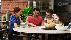 Nicolette Stone, David Tanaka, Aaron Brennan in Neighbours Episode 8543