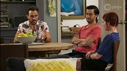 Aaron Brennan, David Tanaka, Nicolette Stone in Neighbours Episode 8543