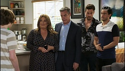 Emmett Donaldson, Terese Willis, Paul Robinson, Aaron Brennan, David Tanaka in Neighbours Episode 8545