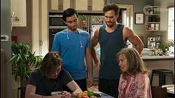 Brent Colefax, David Tanaka, Aaron Brennan, Jane Harris in Neighbours Episode 8550