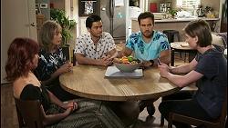 Nicolette Stone, Jane Harris, David Tanaka, Aaron Brennan, Brent Colefax in Neighbours Episode 8551