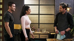 Ned Willis, Yashvi Rebecchi, Shane Rebecchi in Neighbours Episode 8556
