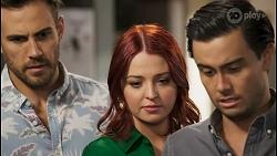 Aaron Brennan, Nicolette Stone, David Tanaka in Neighbours Episode 8556