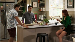 Aaron Brennan, David Tanaka, Nicolette Stone in Neighbours Episode 8557