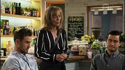 Aaron Brennan, Jane Harris, David Tanaka in Neighbours Episode 8558