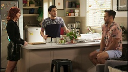 Nicolette Stone, David Tanaka, Aaron Brennan in Neighbours Episode 8558