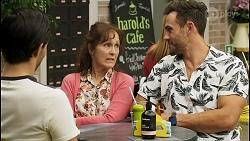 David Tanaka, Fay Brennan, Aaron Brennan in Neighbours Episode 8567