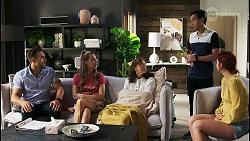 Aaron Brennan, Chloe Brennan, Fay Brennan, David Tanaka, Nicolette Stone in Neighbours Episode 8568