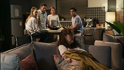 Chloe Brennan, Aaron Brennan, Nicolette Stone, Fay Brennan, David Tanaka in Neighbours Episode 8573