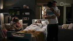 Nicolette Stone, Chloe Brennan, Fay Brennan, David Tanaka, Aaron Brennan in Neighbours Episode 8573