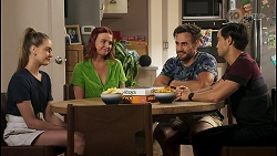 Chloe Brennan, Nicolette Stone, Aaron Brennan, David Tanaka in Neighbours Episode 8578