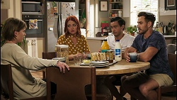Brent Colefax, Nicolette Stone, David Tanaka, Aaron Brennan in Neighbours Episode 8579