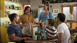 Aaron Brennan, Nicolette Stone, Chloe Brennan, Emmett Donaldson, David Tanaka in Neighbours Episode 8579