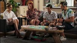 Chloe Brennan, Nicolette Stone, David Tanaka, Aaron Brennan in Neighbours Episode 8584