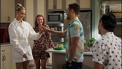 Chloe Brennan, Nicolette Stone, Aaron Brennan, David Tanaka in Neighbours Episode 8585