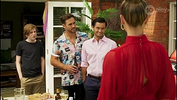 Emmett Donaldson, Aaron Brennan, David Tanaka, Chloe Brennan in Neighbours Episode 8591