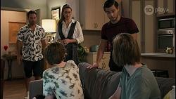 Aaron Brennan, Ellie Blackburn, Chloe Brennan, David Tanaka, Brent Colefax in Neighbours Episode 8598
