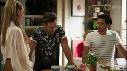 Chloe Brennan, Aaron Brennan, David Tanaka in Neighbours Episode 8604