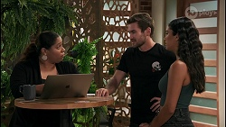 Sheila Canning 2, Ned Willis, Yashvi Rebecchi in Neighbours Episode 8605