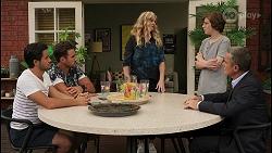 David Tanaka, Aaron Brennan, Jenna Donaldson, Emmett Donaldson, Paul Robinson in Neighbours Episode 8605