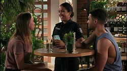 Barman, Yashvi Rebecchi, Levi Canning in Neighbours Episode 8607