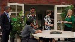 Paul Robinson, David Tanaka, Aaron Brennan, Emmett Donaldson, Jenna Donaldson in Neighbours Episode 8609