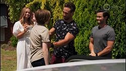 Harlow Robinson, Emmett Donaldson, Aaron Brennan, David Tanaka in Neighbours Episode 8609