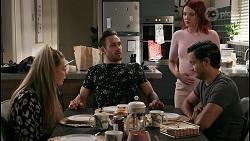 Chloe Brennan, Aaron Brennan, Nicolette Stone, David Tanaka in Neighbours Episode 8610