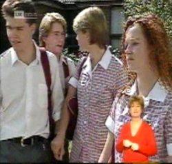 Michael Martin, Brett Stark, Danni Stark, Cody Willis in Neighbours Episode 2156