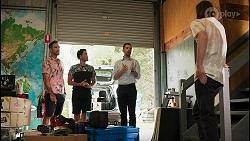 Aaron Brennan, David Tanaka, Curtis Perkins, Brent Colefax in Neighbours Episode 8593